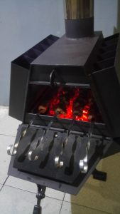 буржуйка-мангал з варочною поверхнею в гараж для гаража, шашлик в буржуйке
